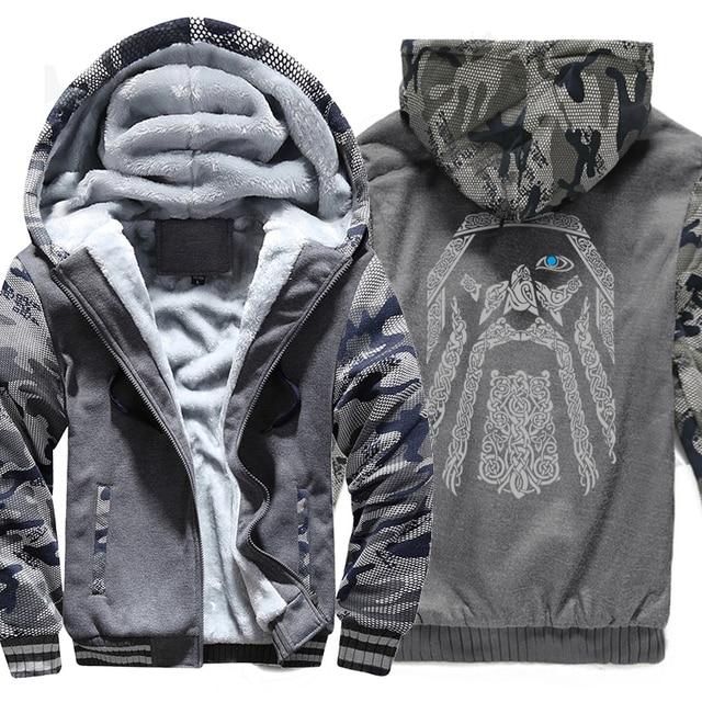 Winter Sweatshirt Raglan Print Jas Trainingspak Odin Vikings Truien Voor Mannen 2019 Nieuwe Mode Wollen Voering Camouflage Mouw Jassen