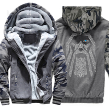 Winter sweatshirt raglan drucken jacke trainingsanzug Odin Vikings hoodies für männer 2019 neue mode wolle liner Camouflage hülse mäntel