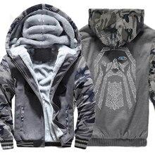 Zimowa bluza raglan drukuj kurtka dres Odin Vikings bluzy dla mężczyzn 2019 nowych moda wełniana wkładka z długimi rękawami moro płaszcze