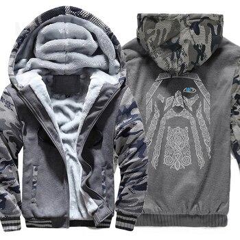 winter sweatshirt raglan print jacket tracksuit Odin Vikings hoodies for men 2019 new fashion wool liner Camouflage sleeve coats