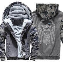 024bda59a94a3 Kış kazak raglan baskı ceket eşofman Odin Vikings hoodies erkekler için 2018  yeni moda yün astar