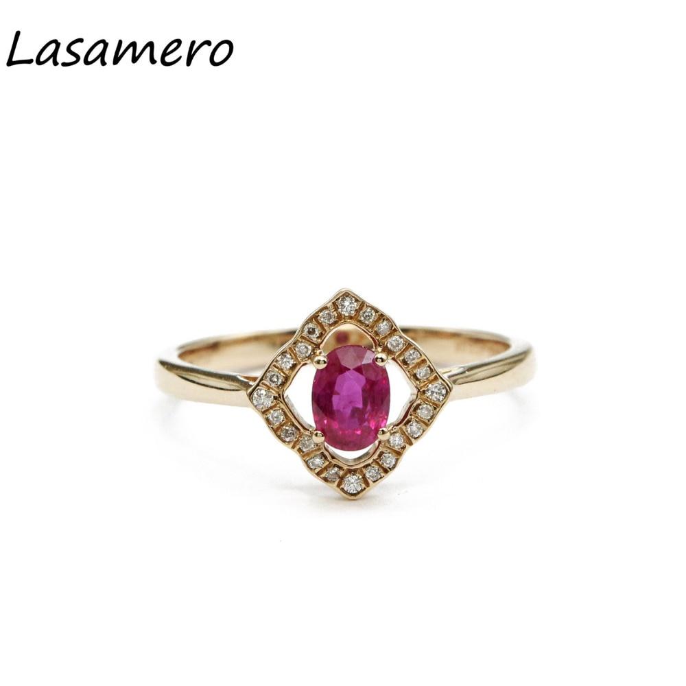 Lasamero овальным вырезом 0.51ct природных драгоценных камней Рубин 18 К розовое золото Halo алмаз акценты Свадебные Обручение кольцо