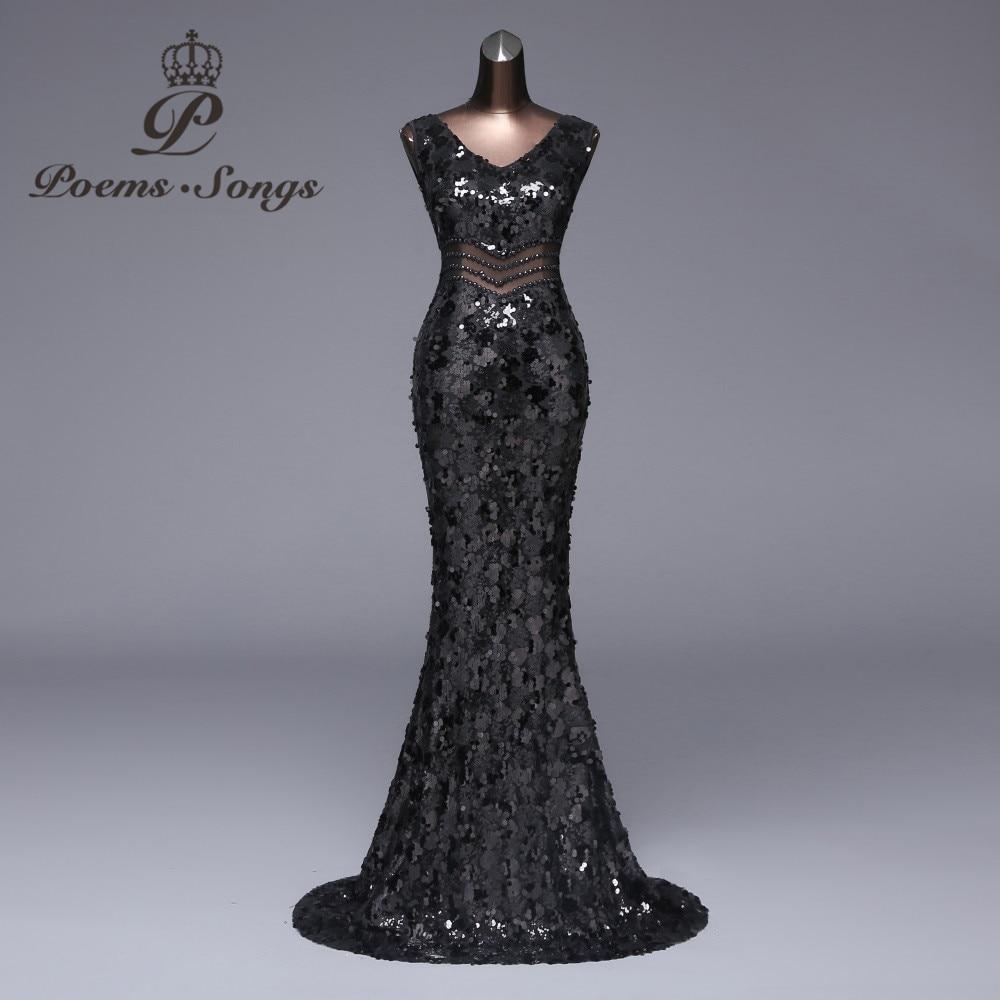Poems songs Sexy waist Evening Dress Party dress vestido de festa Luxury Black Sequin robe longue