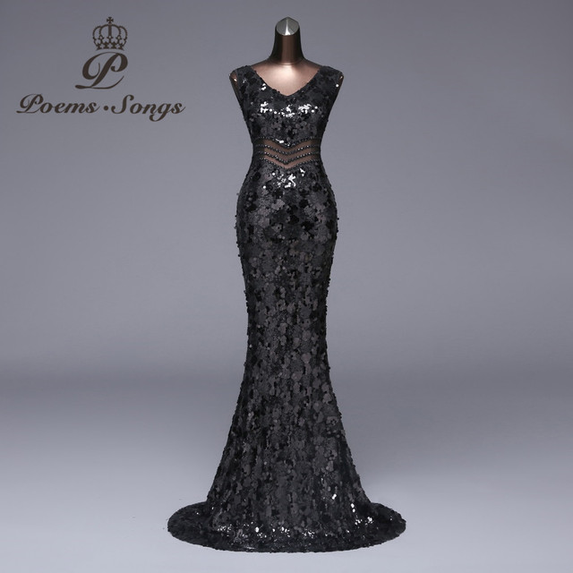 Poems Songs2018 New Sexy waist long Evening Dress Formal Party dress  vestido de festa Luxury Black Sequin robe longue prom gowns 3b67d379110b