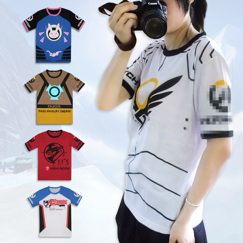 Hot Game OW D.VA/Mercy/Tracer/Mccree/SOLDIER 76 Printed T-shirt  Anime/Game Men/Women Cotton t shirt Unisex Tops 2018 New