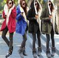 Starlist woman thickening skinny winter long Hooded artificial fur collar warm parkas army green jacket black long coat