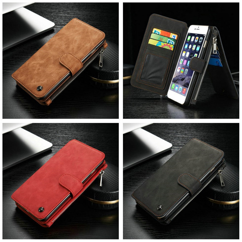 For IPhone 6 4 7 Inch Multi functional Genuine Leather Case Cover Bulit in 14 Zipper