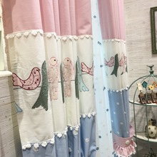 High-grade Cotton Embroidery Stitching Bird Girl Curtain for Living Dining Room Bedroom