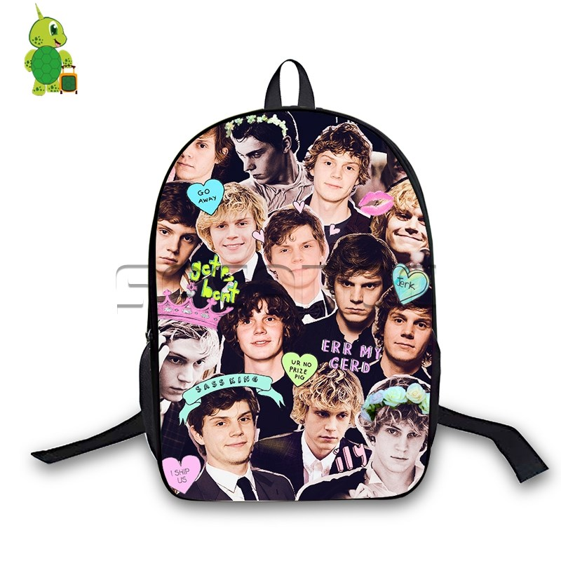 9205f5a81c Evan Peters Collages Backpack Children School Bags American Horror Story  Laptop Backpack for Teenage Girls Boys