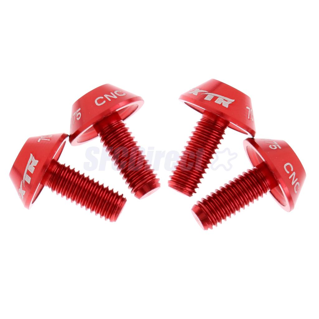 4 Piece Bicycle Water Bottle Cage Alloy M5 x 12mm Bolts Allen Key Screws Red