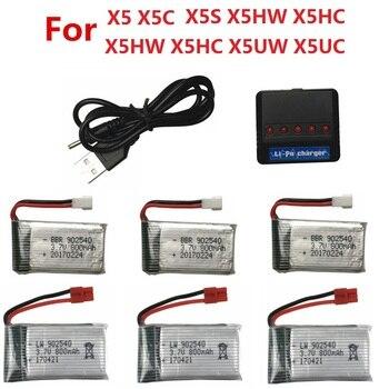 3.7V 800mAh bateria i ładowarka USB do SYMA X5 X5C X5S X5SW X5HW X5HC X5UC X5UW zdalnie sterowany dron quadcopter zamienne baterii części 3.7v #3
