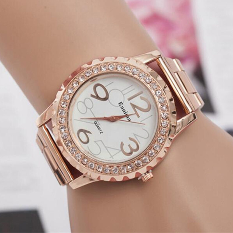 Hot New casual watch Crystal Rhinestone steel wristwatches relogios femininos gold luxury brand quartz watches women dress watch