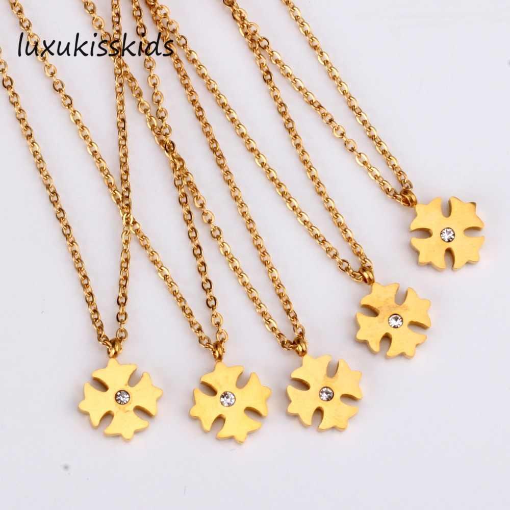 LUXUKISSKIDS Hot Gouden Bloem Zirkoon Hangers Kettingen Voor Vrouwen Meisje Baby Choker Link Chain Hanger Ketting-201001
