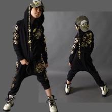 Мода Весна Осень 4-14Y детская Одежда Набор Золото G luoxing печать дети Спортивные Костюмы Хип-Хоп гарем брюки и футболка черный