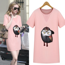 2016summer new women summer dress fashion show thin short sleeved sweater beach dress owl bottom dress