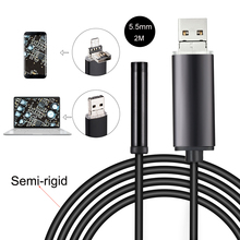 2M Semi-Rigid USB Endoscope 0.3MP Borescope 5.5mm Probe Camera Waterproof Inspection Borescope 6 LEDs USB Wire Snake Tube Camera