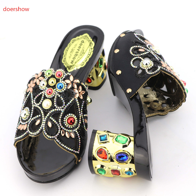 doershow African Women Shoes Open Toe Ladies Sandals Shoes Party Wedding Shoes Decorated with Rhinestone Nigerian Shoes KGB1-9 doershow women slipper elegant african women sandals shoe for party african wedding low heels slip on women pumps shoes abs1 5
