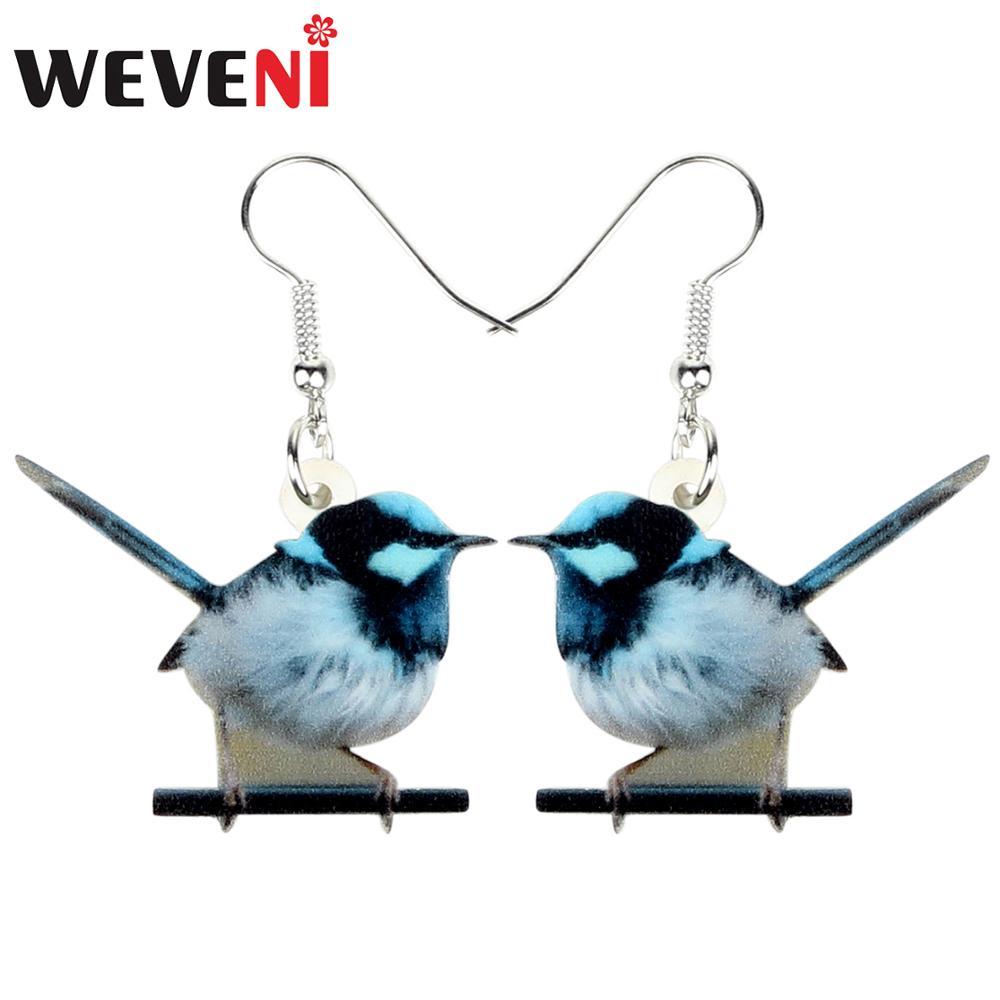WEVENI Acrylic Cute Clever Blue Wren Earrings Dangle Drop Colorful Bird Jewelry For Women Girls Lovers Charm Gift Decoration