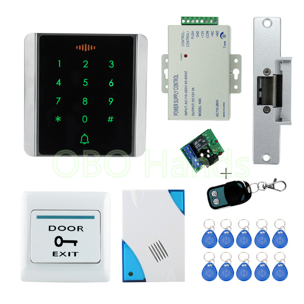 Metal rfid security door lock system kit set with electronic lock for wooden door+ keychains+touch metal access control keypad diysecur rfid keypad door access control security system kit electronic door lock for home office b100