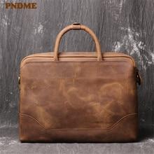 PNDME, Ретро стиль, высокое качество, натуральная кожа, мужской женский портфель, простой, деловой, Воловья кожа, сумка-мессенджер, офисная, большая, сумка для ноутбука