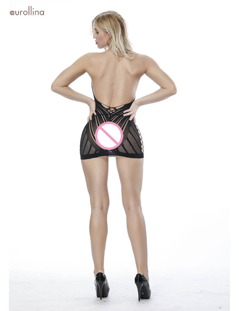 Nylon Lace Bodystocking  Lingerie Deep Sexy Dress Uniform (7)