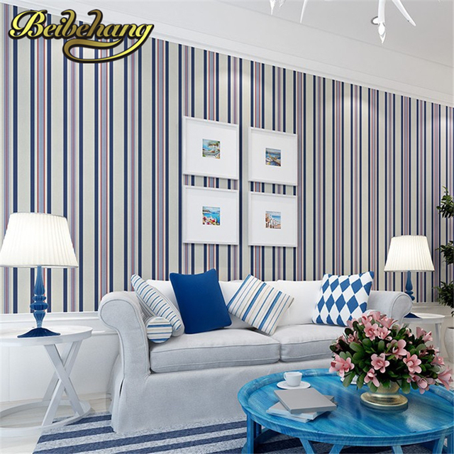 Beibehang wallpaper per soggiorno blu verticale della banda ...