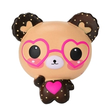 Squishy Love Cute Glasses Bear Scented Jumbo Charm Super Slow Rising Squeeze Toy Decompression Gift for Kids & Adults (Cut