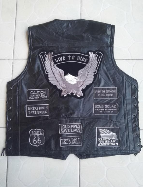 Biker Real Leather Waistcoat Eagle Embossed Side Laces Motorcycle Mens Vest