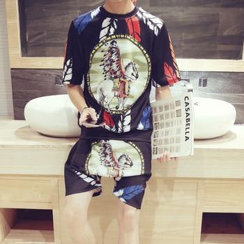 2018 Summer Set Men Causal 3D printing Hip Hop Short Sleeve Shorts Sweatsuit+Pants Fashion Tracksuit Mens Track Suit Two Pieces 1