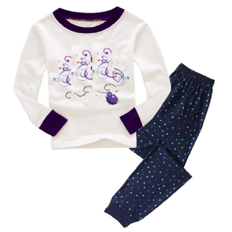 2-12 Year Children Pajamas Sets Polka Dot Baby Girls Sleepwear nightdress Pink Girl pijama loungewear T-Shirt Trouser PJS Cotton 2