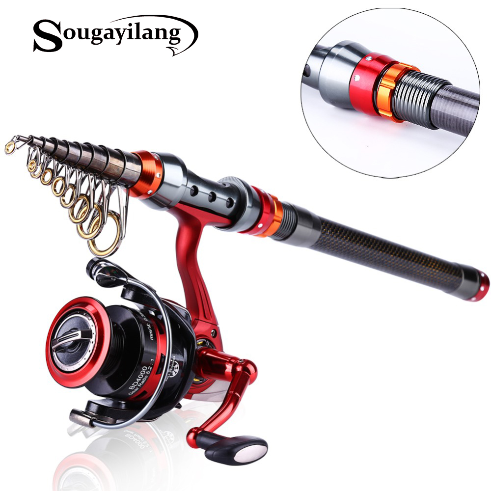 Sougayilang 1 8 3 0m telescopic fishing rod rod and 13 for 13 fishing combo