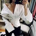 WYHHCJ Elegant lace up blanco alto-bajo la blusa de algodón de manga Larga camisa de la blusa mujeres tops Verano 2017 blusa casual blusas