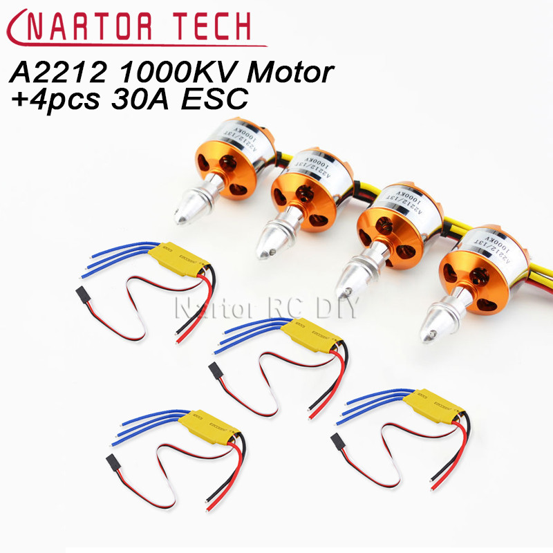 XXD 4pcs A2212 1000KV Brushless Motor with 4pcs 30A ESC for Multicopter Quadcopter 4set lot a2212 1000kv brushless outrunner motor 30a esc 1045 propeller 1 pair quad rotor set for rc aircraft multicopter