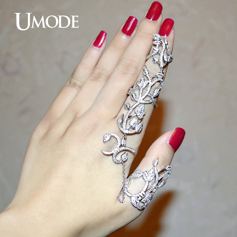 UMODE Unique Two Full Finger Ring With Chain Micro Round Clear CZ White Gold Color Rings for Women Gorgeous Jewelry Anel UR0264 6pcs of stylish color glazed round rings for women
