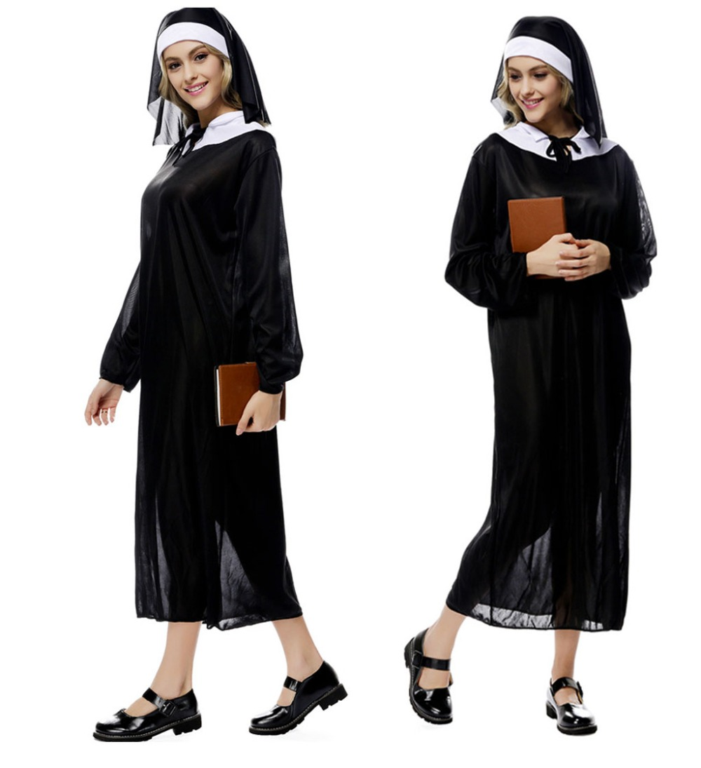 Halloween nun Costumes The Virgin Mary Nun Costume dresses Clothing + Hat Costumes Suit for Women