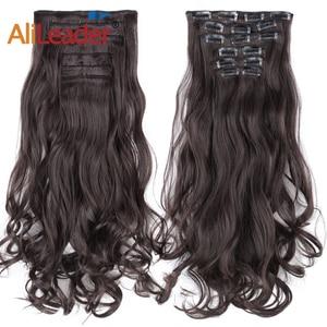 """Alileader 22 """"Синтетические длинные волнистые волосы, термостойкие светло-коричневые, серые, блонд, толстые женские волосы для наращивания, набор для наращивания волос с эффектом омбре"""