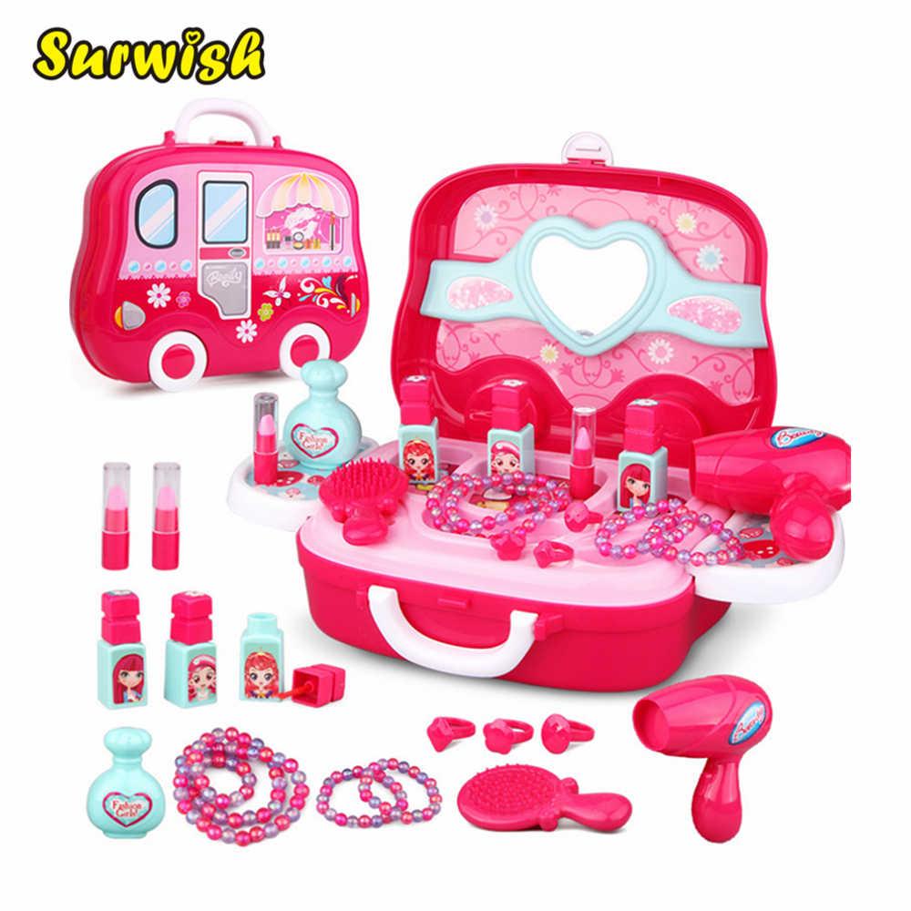 Дети ролевые игры игрушка Макияж игрушка маскарадный костюм и Макияж Дорожная коробка Образование игрушка подарок для девочки малыш-розовый