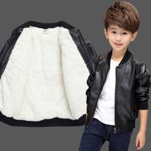 OLOEY Boys Jacket Boy Children Autumn And Winter Clothing 2019 New Baby Plus Velvet Leather Treasure Warm Fashion