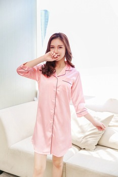 Size M-XXL Sleep Lounge Nightgowns & Sleepshirt Sleepwear BF Style Night Dress Nightwear Women Sexy Lingerie Indoor Dress 2
