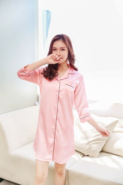 Size M-XXL Sleep Lounge Nightgowns & Sleepshirt Sleepwear BF Style Night Dress Nightwear Women Sexy Lingerie Indoor Dress 2