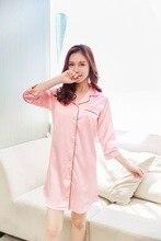 Size M-XXL Sleep Lounge Nightgowns & Sleepshirt Sleepwear BF Style Night Dress Nightwear Women Sexy Lingerie Indoor Dress