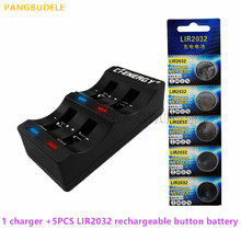 цена на High Quality Universal USB Interface 4-Slot Charger 1PCS + 5PCS Rechargeable Button Battery LIR2032 Button Battery
