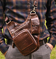 New Vintage Fashion Casual Genuine Leather Cowhide Men Chest Bag Shoulder Messenger Cross Body Bag Men Waist Pack Bags