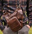 New Vintage Fashion Casual Genuine Leather Cowhide Men Chest Bag Shoulder Messenger Cross Body Bag Men Waist Pack Bags