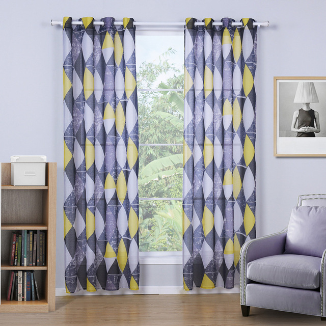 US 18 OFF SunnyRain 1 Piece Grey Rhombus Retro Curtain For Living Room Tulle For Bedroom Drapes Curtains With Eyelets Cortinas In Curtains