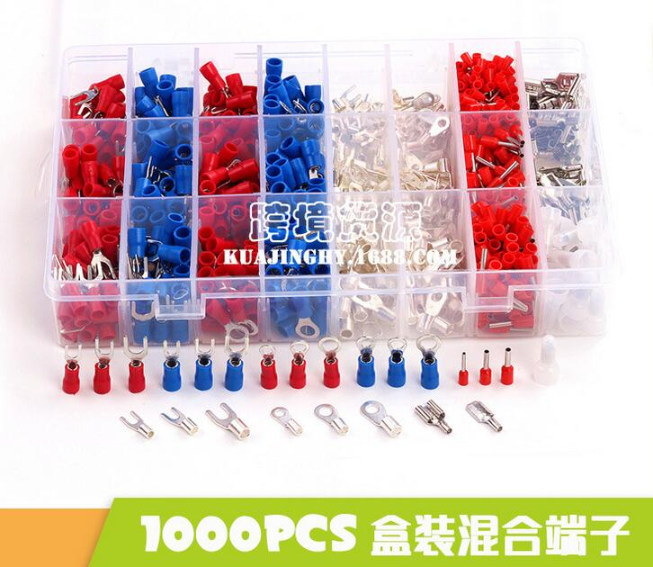 1000Pcs Insulated Crimp Terminals 24Types Kit Electrical Cable Wire Cord Pin End Connectors Spade Fork Ring Assorted Set 800pcs cable bootlace copper ferrules kit set wire electrical crimp connector insulated cord pin end terminal hand repair kit