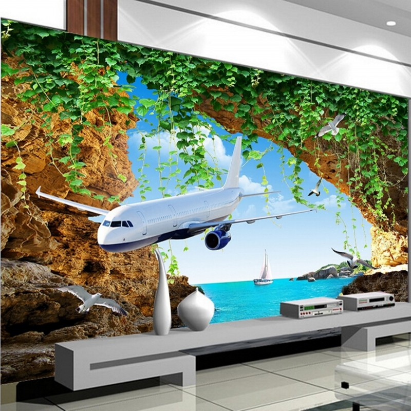 Beibehang Customize Any Size 3d Photo Plane Sea View Wallpaper Live