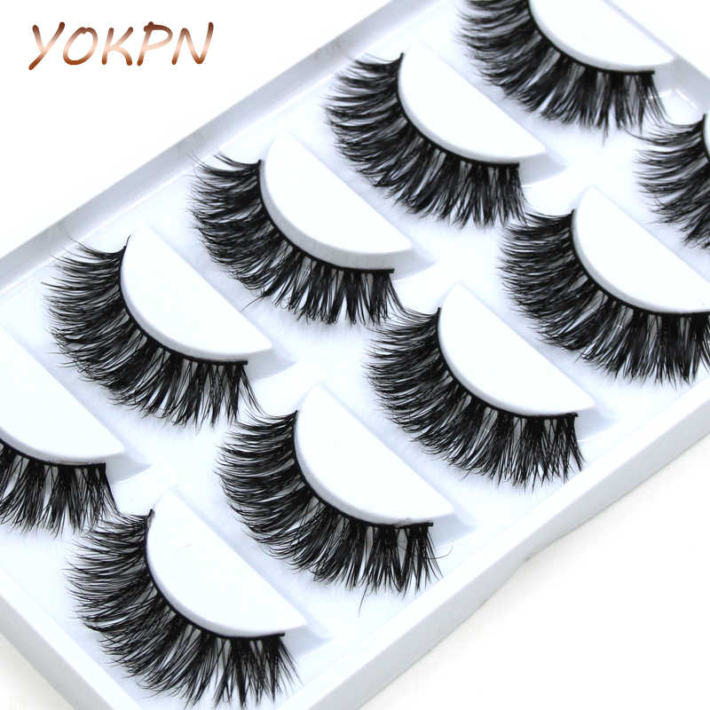 3263967fd05 YOKPN 5 pairs Handmade Cotton Stalk Water Mink False Eyelashes Cross Messy  Dense Natural Eye Lashes