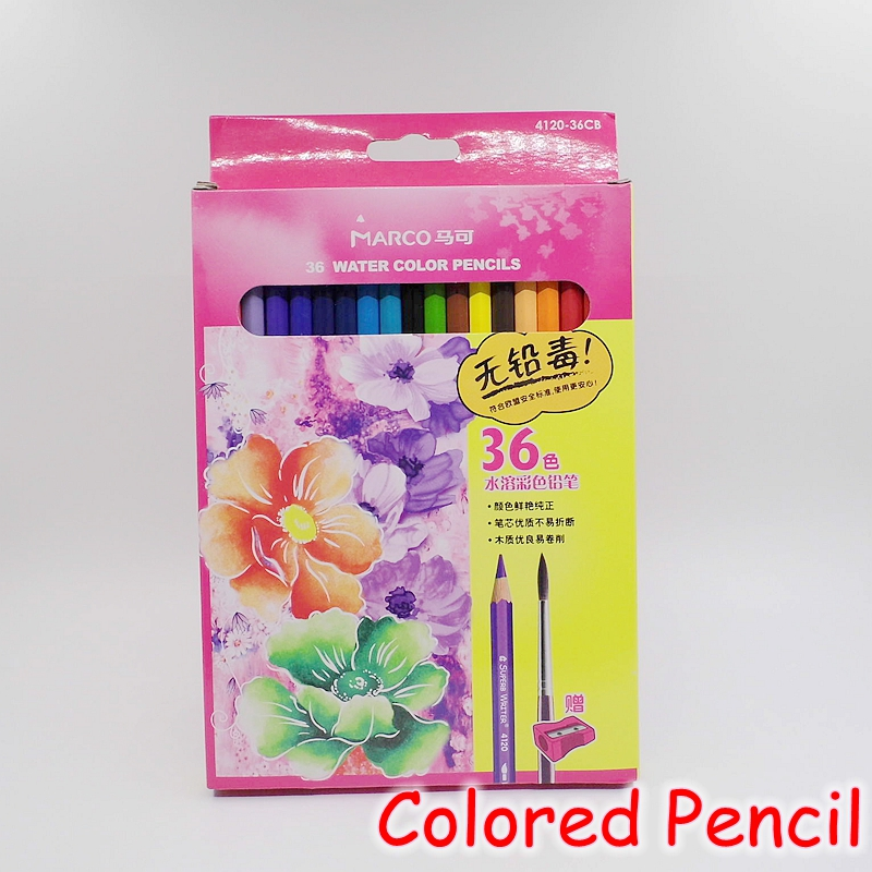 [MARCO] 36 Colors Water Soluble Colored Pencils Watercolor Pencil Set For School Sketch Drawing Art Supplies 4120-36CB vividcraft arting supplies 72colors safe non toxic lead water soluble colored pencil watercolor pencil set for write pencils
