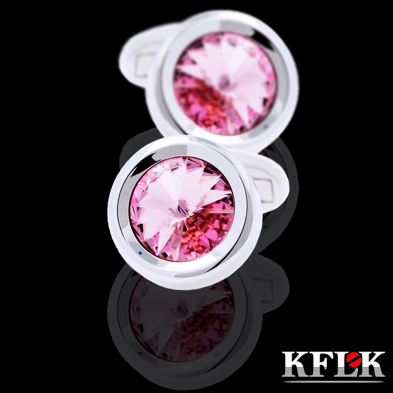 KFLK 2020 Luxury Shirt Cufflinks For Men's Brand Cuff Buttons Wedding Crystal Cuff Links High Quality Pink Abotoaduras Jewelry